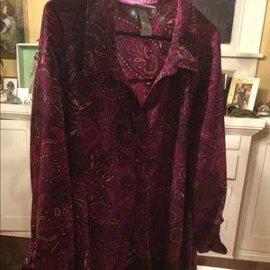 3x CATHERINES purple paisley button up shirt *NICE